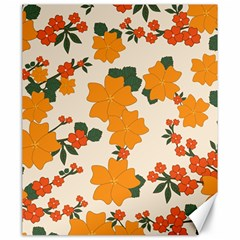 Vintage Floral Wallpaper Background In Shades Of Orange Canvas 20  X 24   by Nexatart
