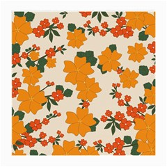 Vintage Floral Wallpaper Background In Shades Of Orange Medium Glasses Cloth by Nexatart