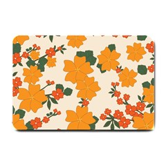 Vintage Floral Wallpaper Background In Shades Of Orange Small Doormat  by Nexatart