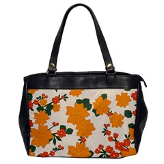 Vintage Floral Wallpaper Background In Shades Of Orange Office Handbags by Nexatart