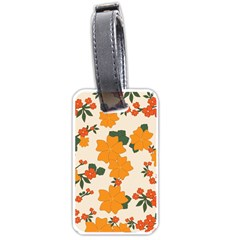 Vintage Floral Wallpaper Background In Shades Of Orange Luggage Tags (one Side)  by Nexatart