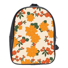Vintage Floral Wallpaper Background In Shades Of Orange School Bags (xl)  by Nexatart