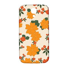 Vintage Floral Wallpaper Background In Shades Of Orange Samsung Galaxy S4 I9500/i9505  Hardshell Back Case by Nexatart