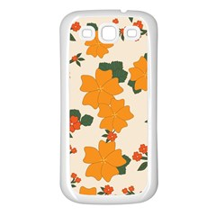 Vintage Floral Wallpaper Background In Shades Of Orange Samsung Galaxy S3 Back Case (white)