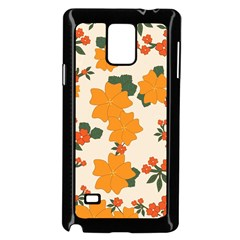 Vintage Floral Wallpaper Background In Shades Of Orange Samsung Galaxy Note 4 Case (black)
