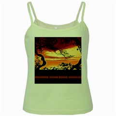 Autumn Song Autumn Spreading Its Wings All Around Green Spaghetti Tank