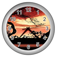 Autumn Song Autumn Spreading Its Wings All Around Wall Clocks (silver)  by Nexatart