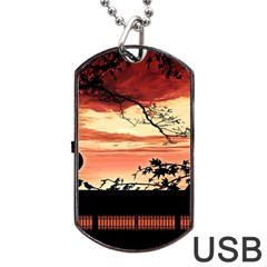 Autumn Song Autumn Spreading Its Wings All Around Dog Tag Usb Flash (two Sides) by Nexatart