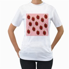 Pink Polka Dot Background With Red Roses Women s T Shirt (white) (two Sided)