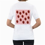 Pink Polka Dot Background With Red Roses Women s T-Shirt (White) (Two Sided) Back