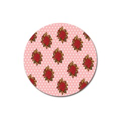 Pink Polka Dot Background With Red Roses Magnet 3  (round) by Nexatart