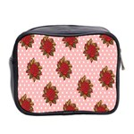 Pink Polka Dot Background With Red Roses Mini Toiletries Bag 2-Side Back