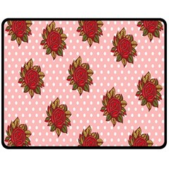 Pink Polka Dot Background With Red Roses Fleece Blanket (medium)