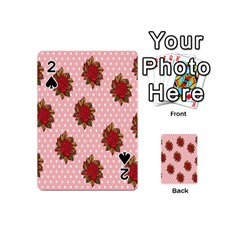 Pink Polka Dot Background With Red Roses Playing Cards 54 (mini)  by Nexatart