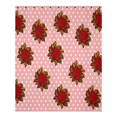 Pink Polka Dot Background With Red Roses Shower Curtain 60  X 72  (medium)