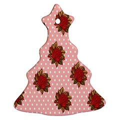 Pink Polka Dot Background With Red Roses Ornament (christmas Tree)  by Nexatart