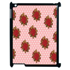 Pink Polka Dot Background With Red Roses Apple Ipad 2 Case (black) by Nexatart