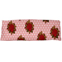 Pink Polka Dot Background With Red Roses Body Pillow Case Dakimakura (two Sides) by Nexatart