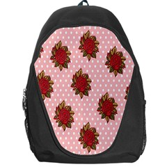 Pink Polka Dot Background With Red Roses Backpack Bag by Nexatart