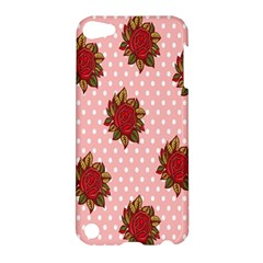 Pink Polka Dot Background With Red Roses Apple Ipod Touch 5 Hardshell Case by Nexatart