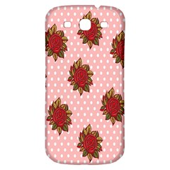 Pink Polka Dot Background With Red Roses Samsung Galaxy S3 S Iii Classic Hardshell Back Case by Nexatart