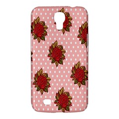 Pink Polka Dot Background With Red Roses Samsung Galaxy Mega 6 3  I9200 Hardshell Case