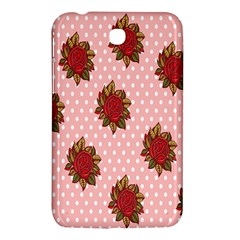 Pink Polka Dot Background With Red Roses Samsung Galaxy Tab 3 (7 ) P3200 Hardshell Case  by Nexatart