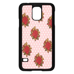 Pink Polka Dot Background With Red Roses Samsung Galaxy S5 Case (black) by Nexatart