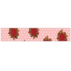 Pink Polka Dot Background With Red Roses Flano Scarf (large) by Nexatart