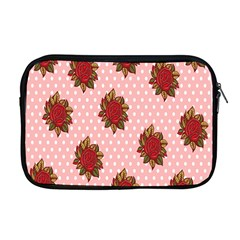 Pink Polka Dot Background With Red Roses Apple Macbook Pro 17  Zipper Case by Nexatart