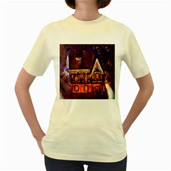 House In Winter Decoration Women s Yellow T Shirt