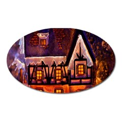 House In Winter Decoration Oval Magnet