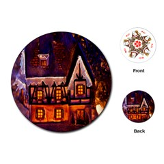 House In Winter Decoration Playing Cards (round)  by Nexatart