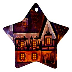 House In Winter Decoration Star Ornament (two Sides) by Nexatart