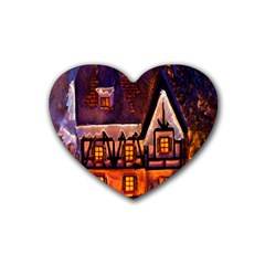 House In Winter Decoration Heart Coaster (4 Pack)  by Nexatart