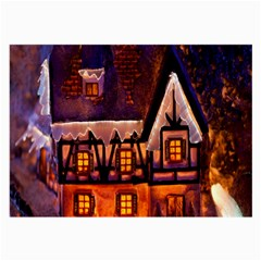 House In Winter Decoration Large Glasses Cloth