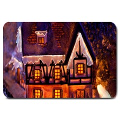 House In Winter Decoration Large Doormat  by Nexatart