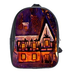 House In Winter Decoration School Bags(large)  by Nexatart