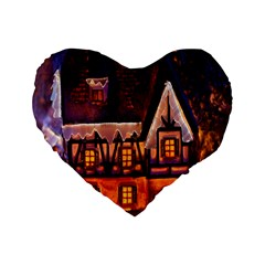 House In Winter Decoration Standard 16  Premium Heart Shape Cushions by Nexatart