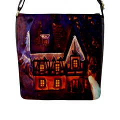 House In Winter Decoration Flap Messenger Bag (l)  by Nexatart