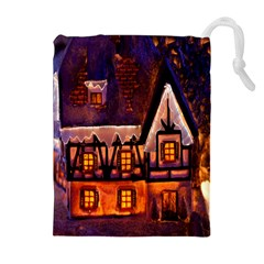 House In Winter Decoration Drawstring Pouches (extra Large) by Nexatart