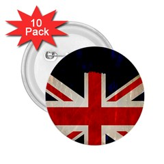 Flag Of Britain Grunge Union Jack Flag Background 2 25  Buttons (10 Pack)  by Nexatart