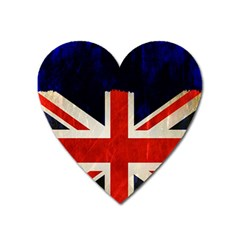Flag Of Britain Grunge Union Jack Flag Background Heart Magnet by Nexatart