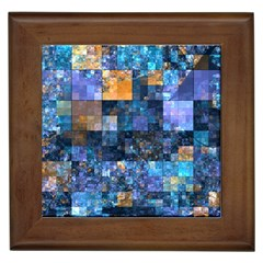 Blue Squares Abstract Background Of Blue And Purple Squares Framed Tiles by Nexatart