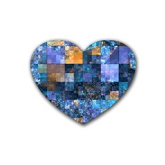 Blue Squares Abstract Background Of Blue And Purple Squares Heart Coaster (4 Pack)  by Nexatart
