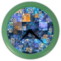 Blue Squares Abstract Background Of Blue And Purple Squares Color Wall Clocks by Nexatart