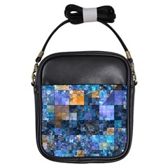 Blue Squares Abstract Background Of Blue And Purple Squares Girls Sling Bags by Nexatart
