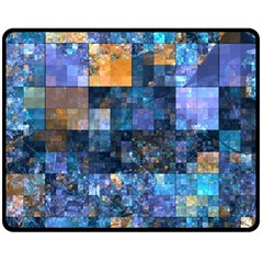 Blue Squares Abstract Background Of Blue And Purple Squares Double Sided Fleece Blanket (medium)  by Nexatart