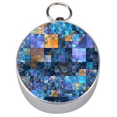 Blue Squares Abstract Background Of Blue And Purple Squares Silver Compasses by Nexatart
