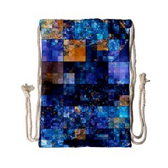 Blue Squares Abstract Background Of Blue And Purple Squares Drawstring Bag (small) by Nexatart